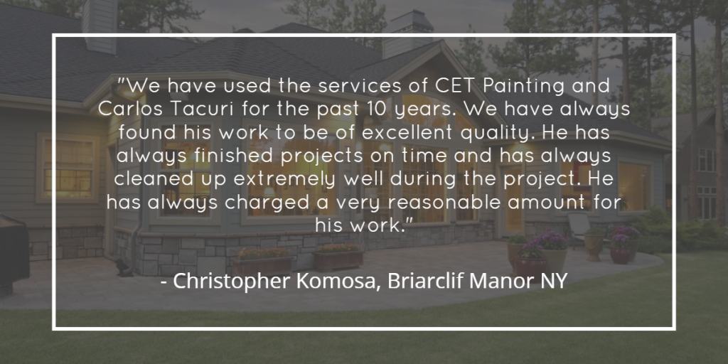 Testimonial for CET Painting in Ossining NY